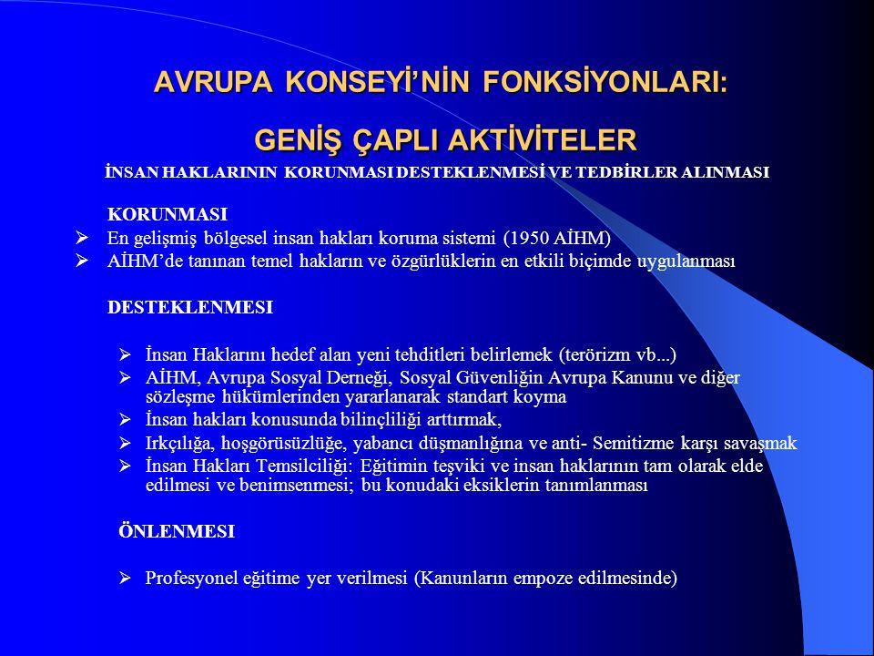 AVRUPA KONSEYİ'NİN FONKSİYONLARI: GENİŞ ÇAPLI AKTİVİTELER İNSAN HAKLARININ KORUNMASI DESTEKLENMESİ VE TEDBİRLER ALINMASI KORUNMASI  En gelişmiş bölgesel insan hakları koruma sistemi (1950 AİHM)  AİHM'de tanınan temel hakların ve özgürlüklerin en etkili biçimde uygulanması DESTEKLENMESI  İnsan Haklarını hedef alan yeni tehditleri belirlemek (terörizm vb...)  AİHM, Avrupa Sosyal Derneği, Sosyal Güvenliğin Avrupa Kanunu ve diğer sözleşme hükümlerinden yararlanarak standart koyma  İnsan hakları konusunda bilinçliliği arttırmak,  Irkçılığa, hoşgörüsüzlüğe, yabancı düşmanlığına ve anti- Semitizme karşı savaşmak  İnsan Hakları Temsilciliği: Eğitimin teşviki ve insan haklarının tam olarak elde edilmesi ve benimsenmesi; bu konudaki eksiklerin tanımlanması ÖNLENMESI  Profesyonel eğitime yer verilmesi (Kanunların empoze edilmesinde)