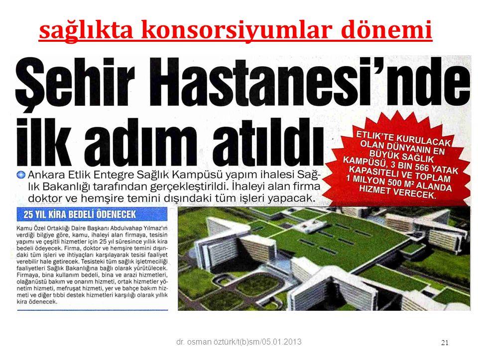sağlıkta konsorsiyumlar dönemi 21 dr. osman öztürk/t(b)sm/05.01.2013