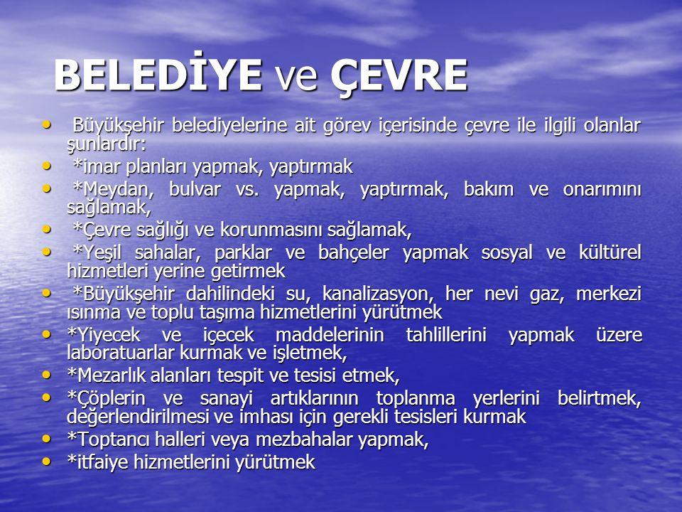 BELEDİYE ve ÇEVRE Büyükşehir belediyelerine ait görev içerisinde çevre ile ilgili olanlar şunlardır: Büyükşehir belediyelerine ait görev içerisinde çe