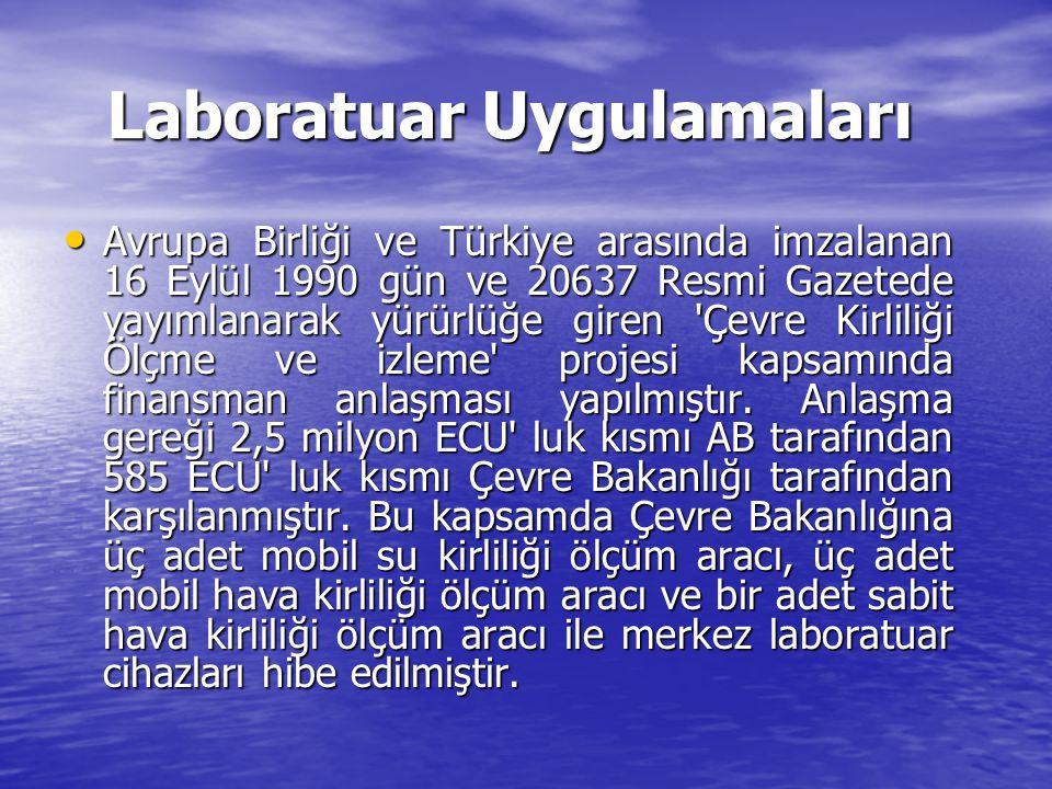 Laboratuar Uygulamaları Avrupa Birliği ve Türkiye arasında imzalanan 16 Eylül 1990 gün ve 20637 Resmi Gazetede yayımlanarak yürürlüğe giren 'Çevre Kir