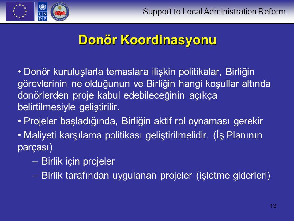 Support to Local Administration Reform 13 Donör Koordinasyonu Donör kuruluşlarla temaslara ilişkin politikalar, Birliğin görevlerinin ne olduğunun ve Birliğin hangi koşullar altında donörlerden proje kabul edebileceğinin açıkça belirtilmesiyle geliştirilir.