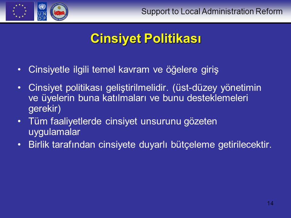 Support to Local Administration Reform 14 Cinsiyet Politikası Cinsiyetle ilgili temel kavram ve öğelere giriş Cinsiyet politikası geliştirilmelidir.