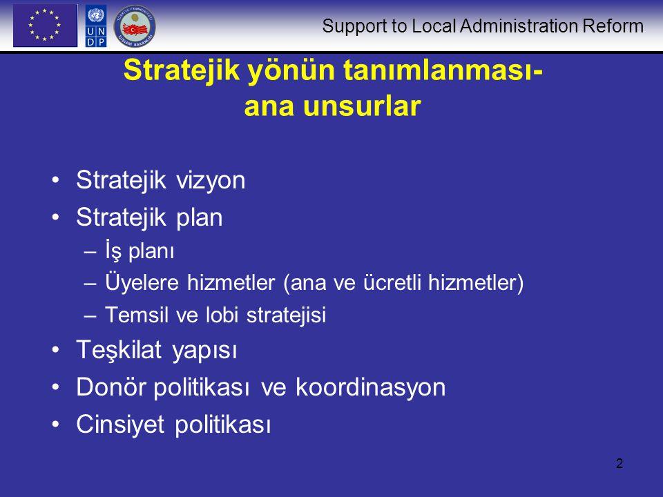Support to Local Administration Reform 2 Stratejik yönün tanımlanması- ana unsurlar Stratejik vizyon Stratejik plan –İş planı –Üyelere hizmetler (ana ve ücretli hizmetler) –Temsil ve lobi stratejisi Teşkilat yapısı Donör politikası ve koordinasyon Cinsiyet politikası