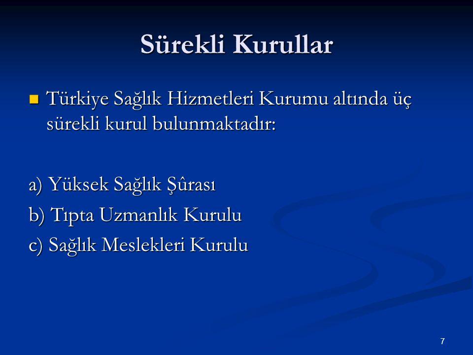 7 Sürekli Kurullar Türkiye Sağlık Hizmetleri Kurumu altında üç sürekli kurul bulunmaktadır: Türkiye Sağlık Hizmetleri Kurumu altında üç sürekli kurul bulunmaktadır: a) Yüksek Sağlık Şûrası b) Tıpta Uzmanlık Kurulu c) Sağlık Meslekleri Kurulu