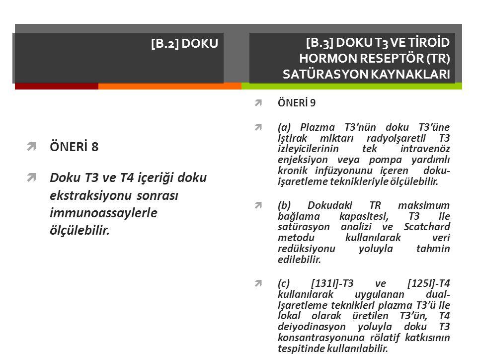 [B.2] DOKU  ÖNERİ 8  Doku T3 ve T4 içeriği doku ekstraksiyonu sonrası immunoassaylerle ölçülebilir.