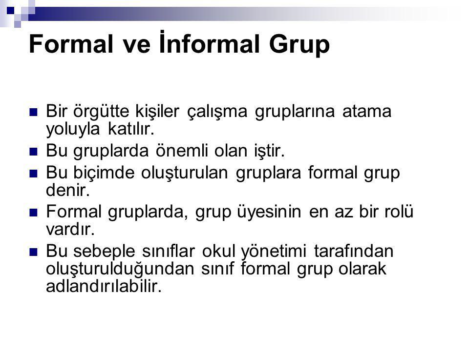 Formal ve İnformal Grup Bir örgütte kişiler çalışma gruplarına atama yoluyla katılır. Bu gruplarda önemli olan iştir. Bu biçimde oluşturulan gruplara