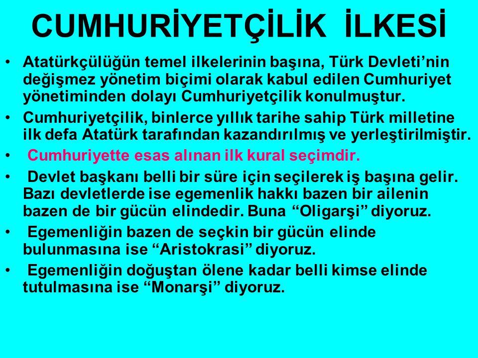 CUMHURİYETÇİLİK İLKESİ Atatürkçülüğün temel ilkelerinin başına, Türk Devleti'nin değişmez yönetim biçimi olarak kabul edilen Cumhuriyet yönetiminden dolayı Cumhuriyetçilik konulmuştur.
