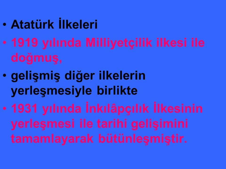 Atatürk İlkeleri 1919 yılında Milliyetçilik ilkesi ile doğmuş, gelişmiş diğer ilkelerin yerleşmesiyle birlikte 1931 yılında İnkılâpçılık İlkesinin yerleşmesi ile tarihi gelişimini tamamlayarak bütünleşmiştir.