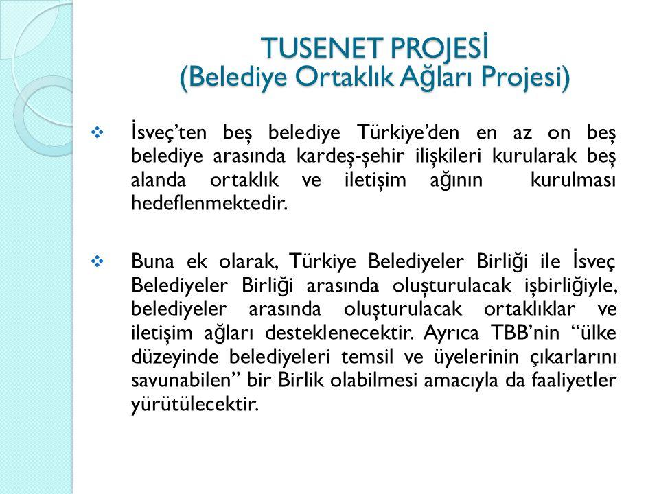 PROJE FAAL İ YETLER İ  Proje kapsamında kardeş-şehir ilişkileri kurulacak,  Türk ve İ sveç Belediyeleri ile Birliklerin katılımıyla sorunların çözümü ve deneyim paylaşımı olasılıkları geliştirilecek,  Proje pilot belediyelerinin işbirli ğ i sonuçları, TBB ile SALAR'ın kolaylaştırıcılı ğ ında di ğ er belediyelere yayılması sa ğ lanacaktır.