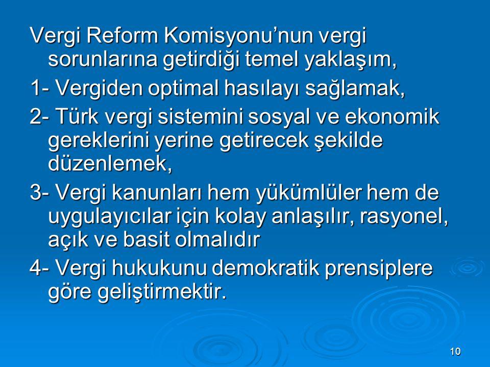 10 Vergi Reform Komisyonu'nun vergi sorunlarına getirdiği temel yaklaşım, 1- Vergiden optimal hasılayı sağlamak, 2- Türk vergi sistemini sosyal ve eko