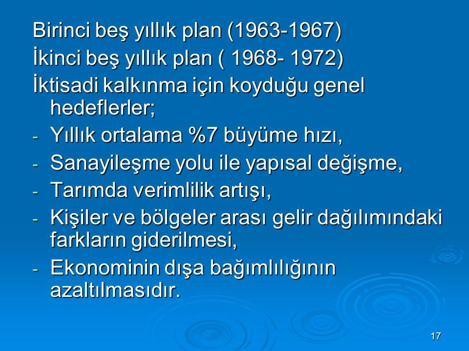 17 Birinci beş yıllık plan (1963-1967) İkinci beş yıllık plan ( 1968- 1972) İktisadi kalkınma için koyduğu genel hedeflerler; - Yıllık ortalama %7 büy
