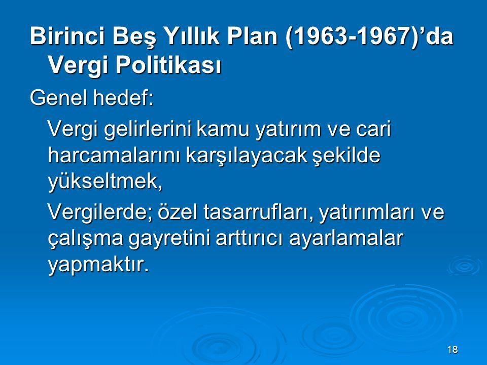 18 Birinci Beş Yıllık Plan (1963-1967)'da Vergi Politikası Genel hedef: Vergi gelirlerini kamu yatırım ve cari harcamalarını karşılayacak şekilde yüks