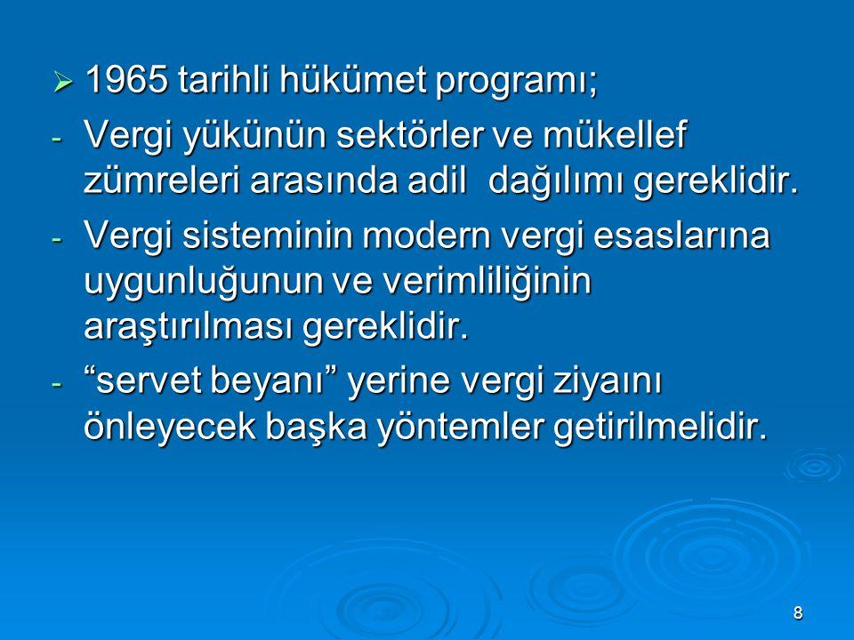 8  1965 tarihli hükümet programı; - Vergi yükünün sektörler ve mükellef zümreleri arasında adil dağılımı gereklidir. - Vergi sisteminin modern vergi