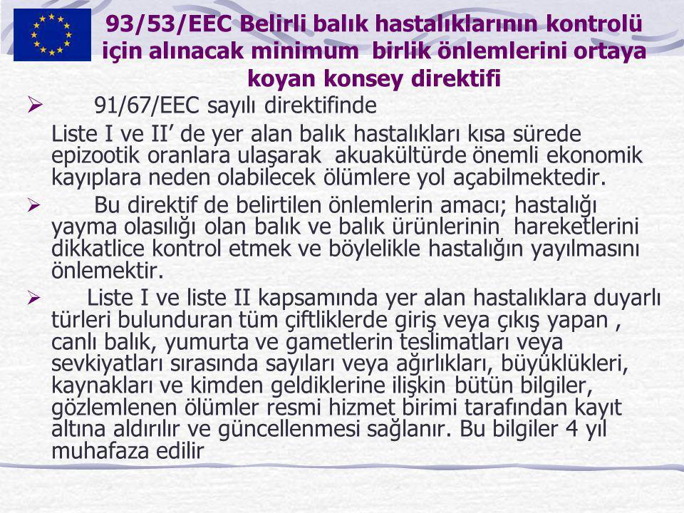 93/53/EEC Belirli balık hastalıklarının kontrolü için alınacak minimum birlik önlemlerini ortaya koyan konsey direktifi  91/67/EEC sayılı direktifind