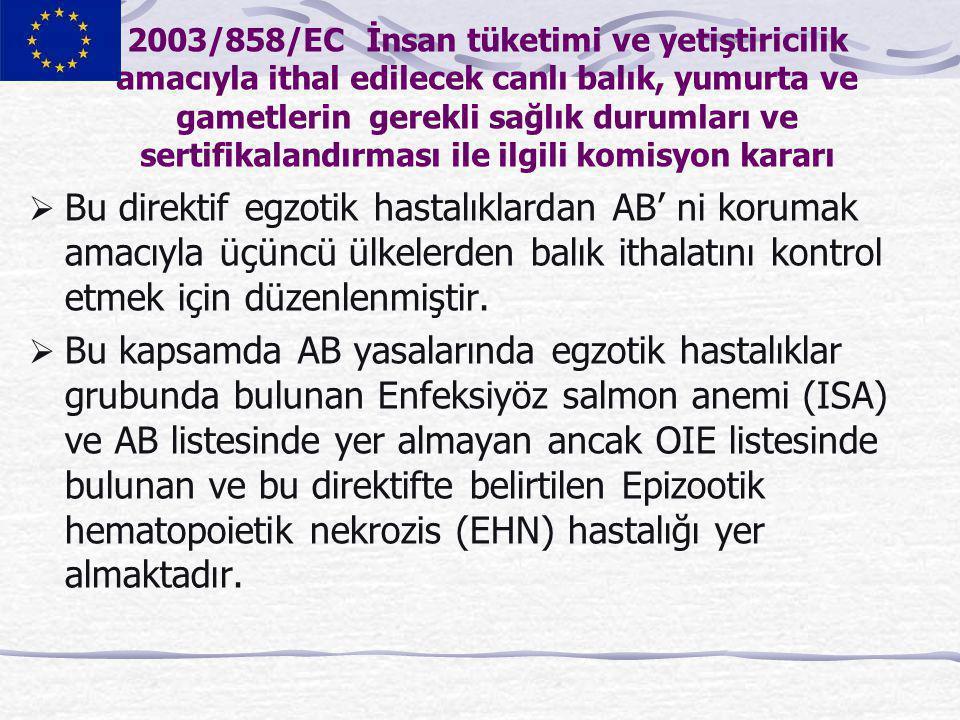 2003/858/EC İnsan tüketimi ve yetiştiricilik amacıyla ithal edilecek canlı balık, yumurta ve gametlerin gerekli sağlık durumları ve sertifikalandırmas