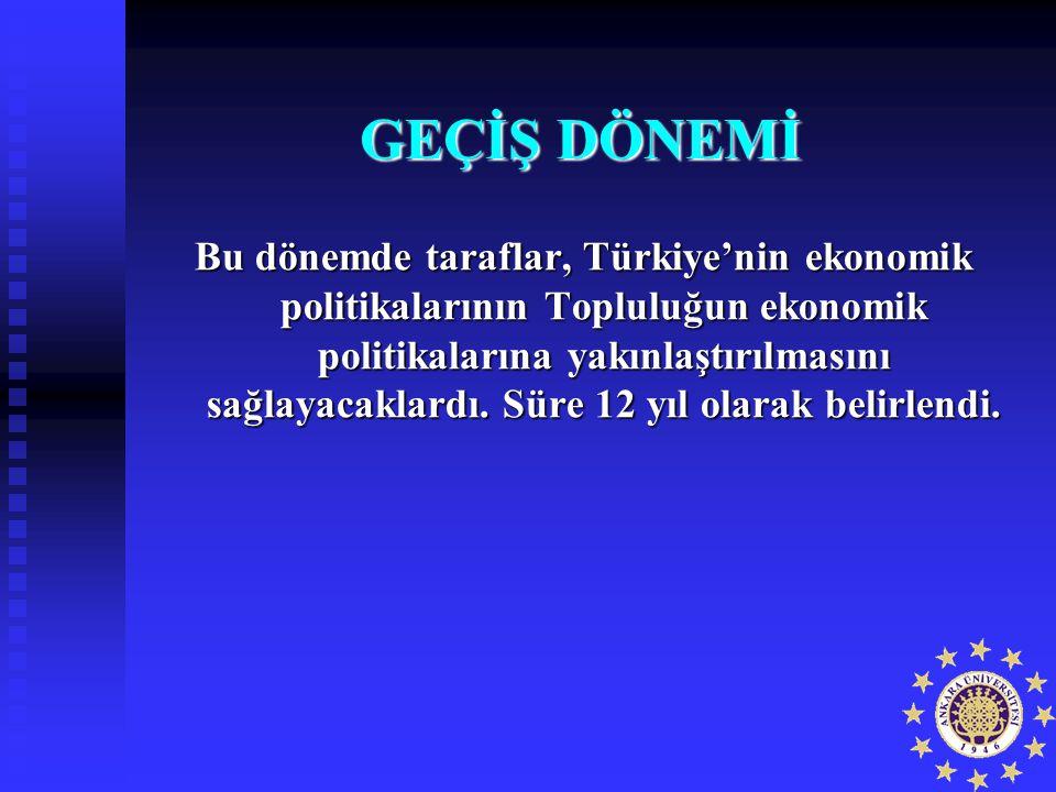 GEÇİŞ DÖNEMİ Bu dönemde taraflar, Türkiye'nin ekonomik politikalarının Topluluğun ekonomik politikalarına yakınlaştırılmasını sağlayacaklardı. Süre 12