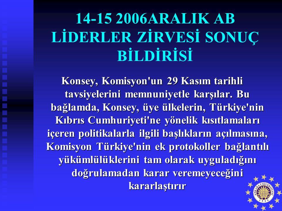 14-15 2006ARALIK AB LİDERLER ZİRVESİ SONUÇ BİLDİRİSİ Konsey, Komisyon'un 29 Kasım tarihli tavsiyelerini memnuniyetle karşılar. Bu bağlamda, Konsey, üy
