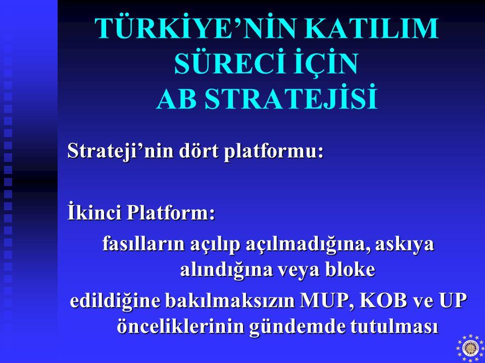 TÜRKİYE'NİN KATILIM SÜRECİ İÇİN AB STRATEJİSİ Strateji'nin dört platformu: İkinci Platform: fasılların açılıp açılmadığına, askıya alındığına veya blo