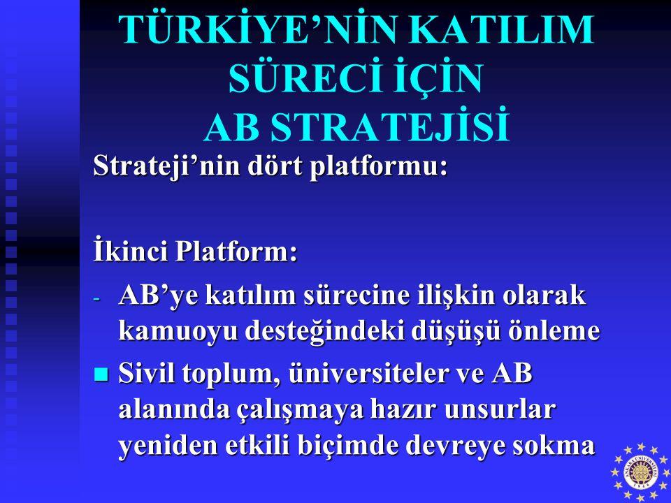 TÜRKİYE'NİN KATILIM SÜRECİ İÇİN AB STRATEJİSİ Strateji'nin dört platformu: İkinci Platform: - AB'ye katılım sürecine ilişkin olarak kamuoyu desteğinde