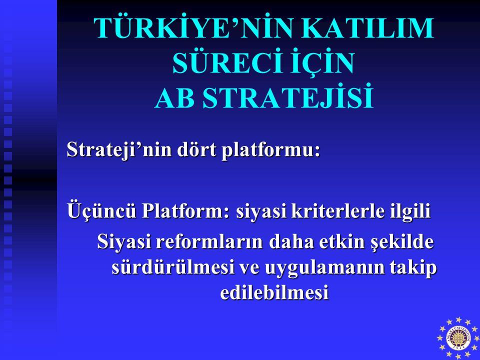 TÜRKİYE'NİN KATILIM SÜRECİ İÇİN AB STRATEJİSİ Strateji'nin dört platformu: Üçüncü Platform: siyasi kriterlerle ilgili Siyasi reformların daha etkin şe