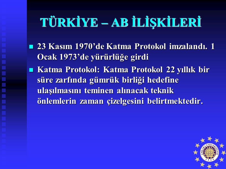 TÜRKİYE – AB İLİŞKİLERİ 23 Kasım 1970'de Katma Protokol imzalandı. 1 Ocak 1973'de yürürlüğe girdi 23 Kasım 1970'de Katma Protokol imzalandı. 1 Ocak 19