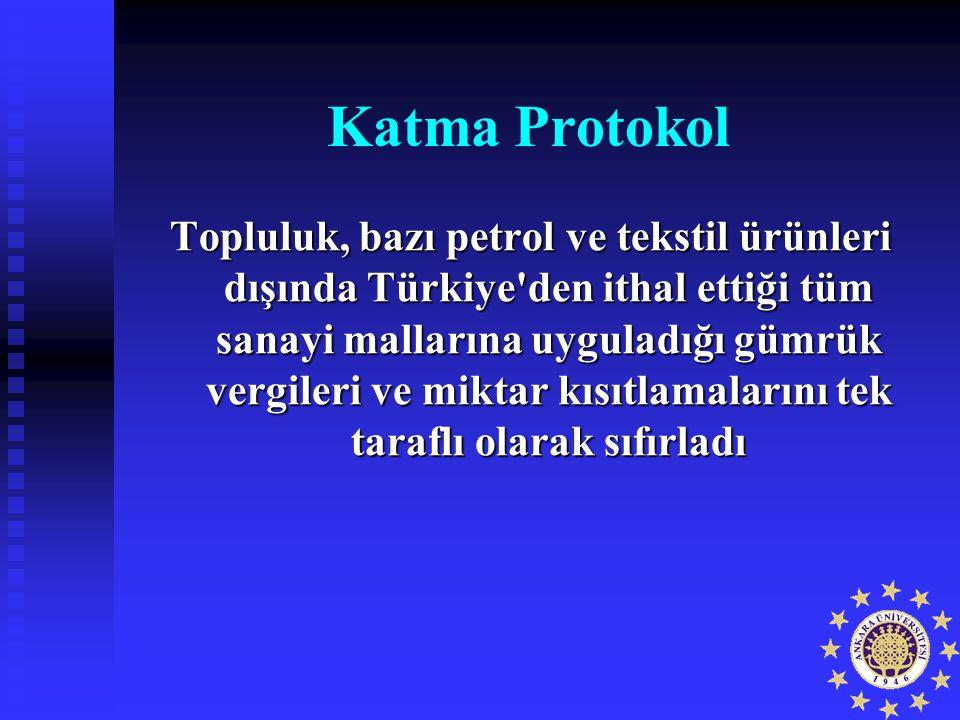 Katma Protokol Topluluk, bazı petrol ve tekstil ürünleri dışında Türkiye'den ithal ettiği tüm sanayi mallarına uyguladığı gümrük vergileri ve miktar k