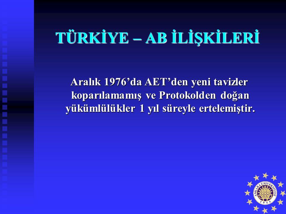 TÜRKİYE – AB İLİŞKİLERİ Aralık 1976'da AET'den yeni tavizler koparılamamış ve Protokolden doğan yükümlülükler 1 yıl süreyle ertelemiştir. Aralık 1976'