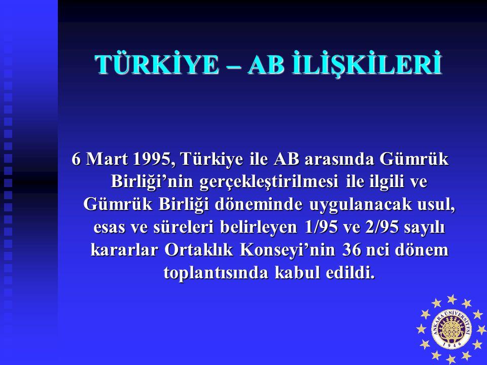 TÜRKİYE – AB İLİŞKİLERİ 6 Mart 1995, Türkiye ile AB arasında Gümrük Birliği'nin gerçekleştirilmesi ile ilgili ve Gümrük Birliği döneminde uygulanacak