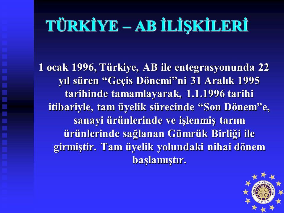 """TÜRKİYE – AB İLİŞKİLERİ 1 ocak 1996, Türkiye, AB ile entegrasyonunda 22 yıl süren """"Geçis Dönemi""""ni 31 Aralık 1995 tarihinde tamamlayarak, 1.1.1996 tar"""