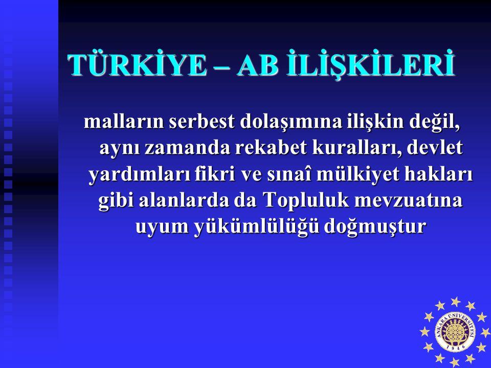 TÜRKİYE – AB İLİŞKİLERİ malların serbest dolaşımına ilişkin değil, aynı zamanda rekabet kuralları, devlet yardımları fikri ve sınaî mülkiyet hakları g