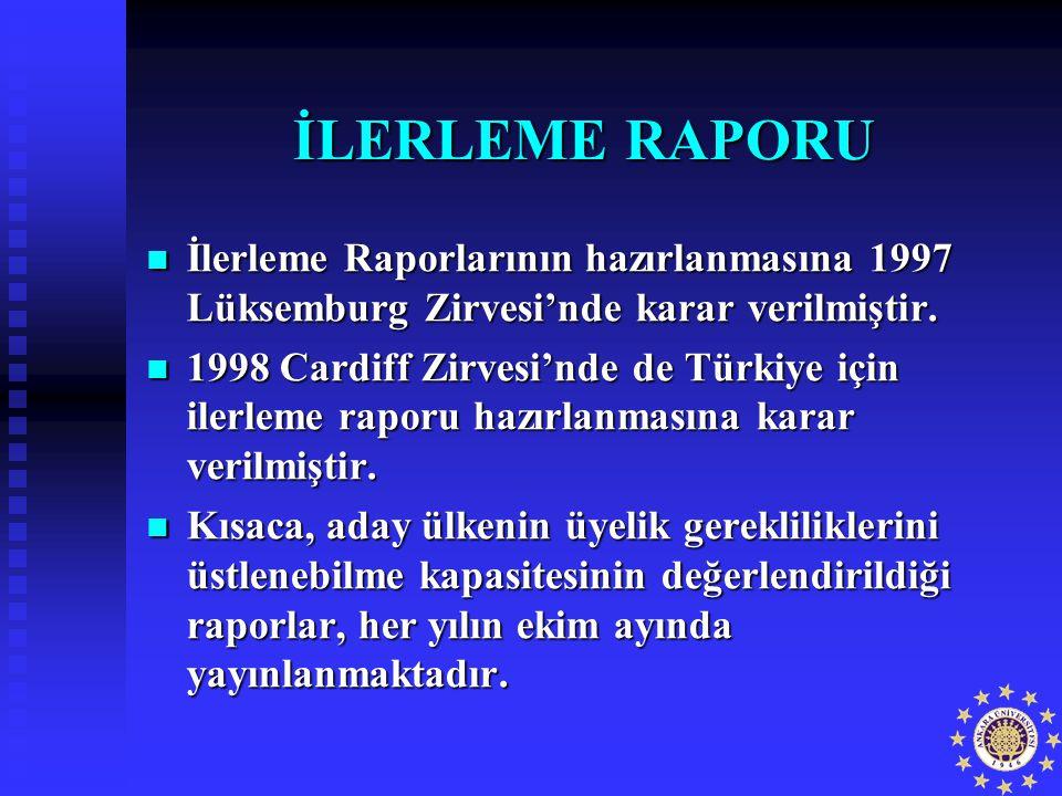 İLERLEME RAPORU İlerleme Raporlarının hazırlanmasına 1997 Lüksemburg Zirvesi'nde karar verilmiştir. İlerleme Raporlarının hazırlanmasına 1997 Lüksembu