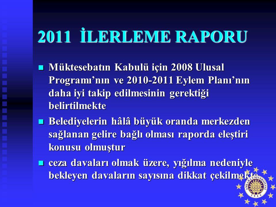 2011 İLERLEME RAPORU Müktesebatın Kabulü için 2008 Ulusal Programı'nın ve 2010-2011 Eylem Planı'nın daha iyi takip edilmesinin gerektiği belirtilmekte