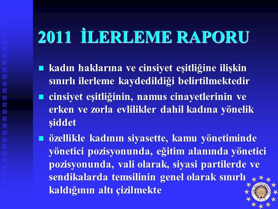 2011 İLERLEME RAPORU kadın haklarına ve cinsiyet eşitliğine ilişkin sınırlı ilerleme kaydedildiği belirtilmektedir kadın haklarına ve cinsiyet eşitliğ