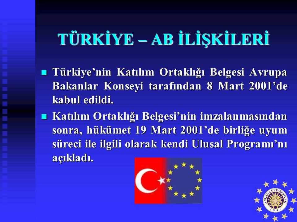 TÜRKİYE – AB İLİŞKİLERİ Türkiye'nin Katılım Ortaklığı Belgesi Avrupa Bakanlar Konseyi tarafından 8 Mart 2001'de kabul edildi. Türkiye'nin Katılım Orta