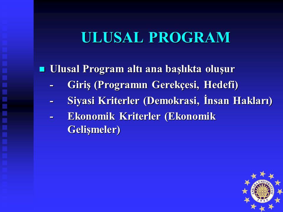 ULUSAL PROGRAM Ulusal Program altı ana başlıkta oluşur Ulusal Program altı ana başlıkta oluşur -Giriş (Programın Gerekçesi, Hedefi) -Siyasi Kriterler