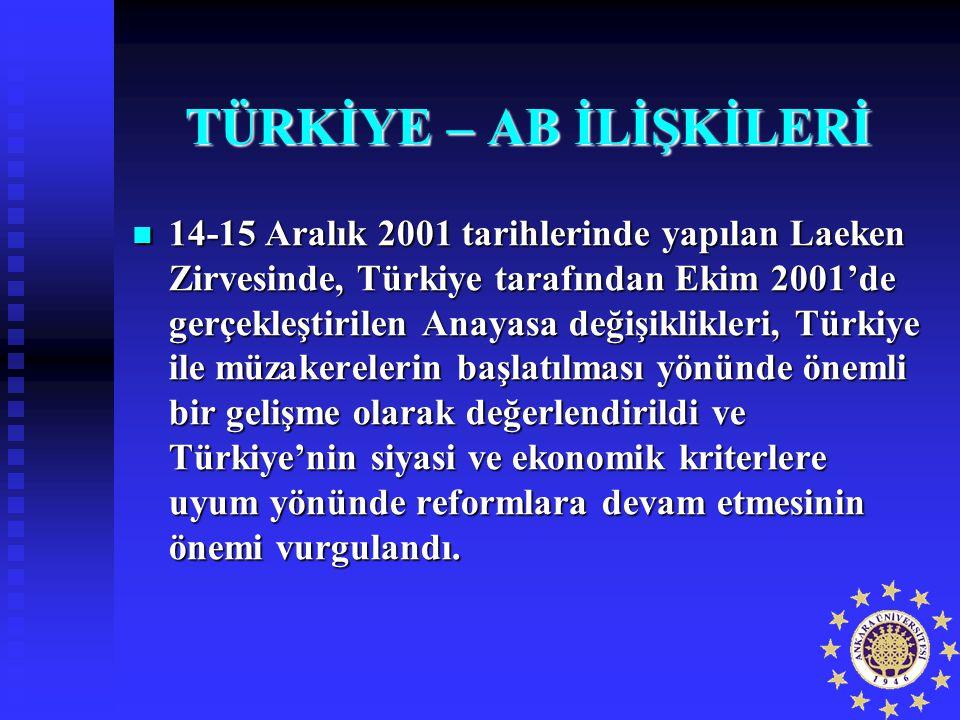 TÜRKİYE – AB İLİŞKİLERİ 14-15 Aralık 2001 tarihlerinde yapılan Laeken Zirvesinde, Türkiye tarafından Ekim 2001'de gerçekleştirilen Anayasa değişiklikl