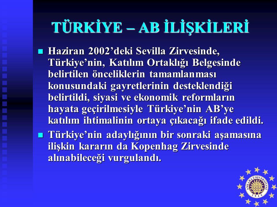 TÜRKİYE – AB İLİŞKİLERİ Haziran 2002'deki Sevilla Zirvesinde, Türkiye'nin, Katılım Ortaklığı Belgesinde belirtilen önceliklerin tamamlanması konusunda
