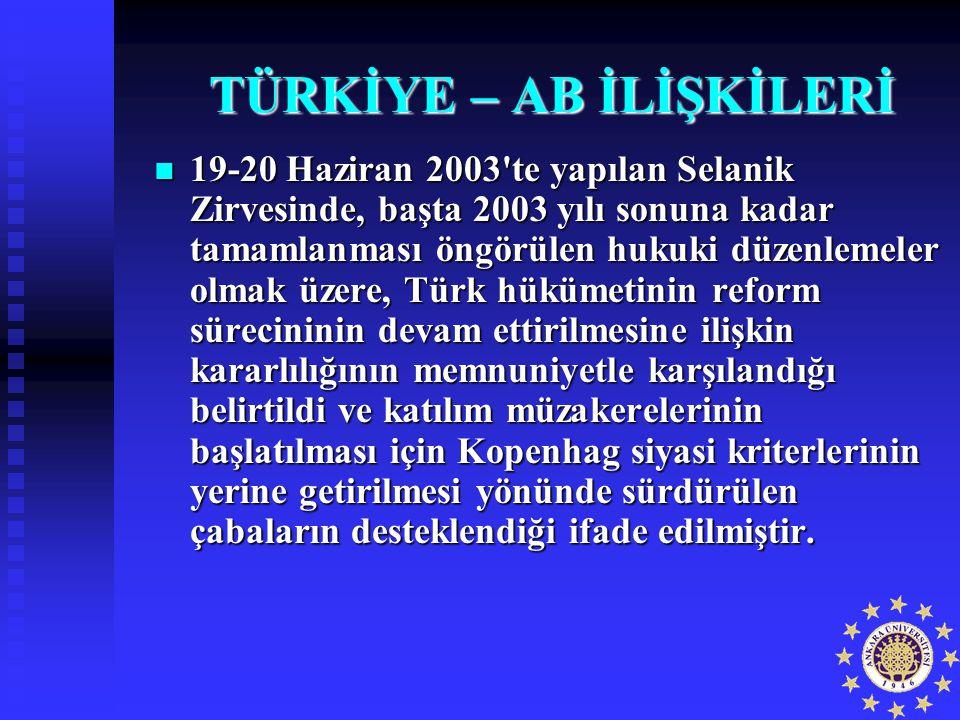 TÜRKİYE – AB İLİŞKİLERİ 19-20 Haziran 2003'te yapılan Selanik Zirvesinde, başta 2003 yılı sonuna kadar tamamlanması öngörülen hukuki düzenlemeler olma