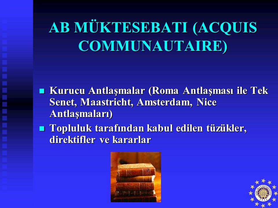 AB MÜKTESEBATI (ACQUIS COMMUNAUTAIRE) Kurucu Antlaşmalar (Roma Antlaşması ile Tek Senet, Maastricht, Amsterdam, Nice Antlaşmaları) Kurucu Antlaşmalar
