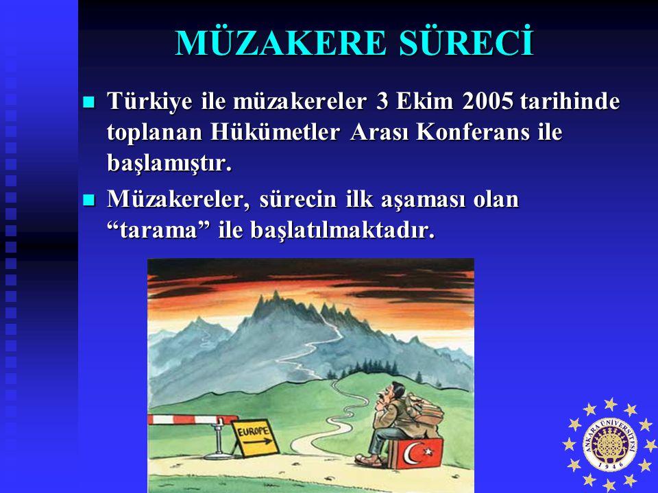MÜZAKERE SÜRECİ Türkiye ile müzakereler 3 Ekim 2005 tarihinde toplanan Hükümetler Arası Konferans ile başlamıştır. Türkiye ile müzakereler 3 Ekim 2005