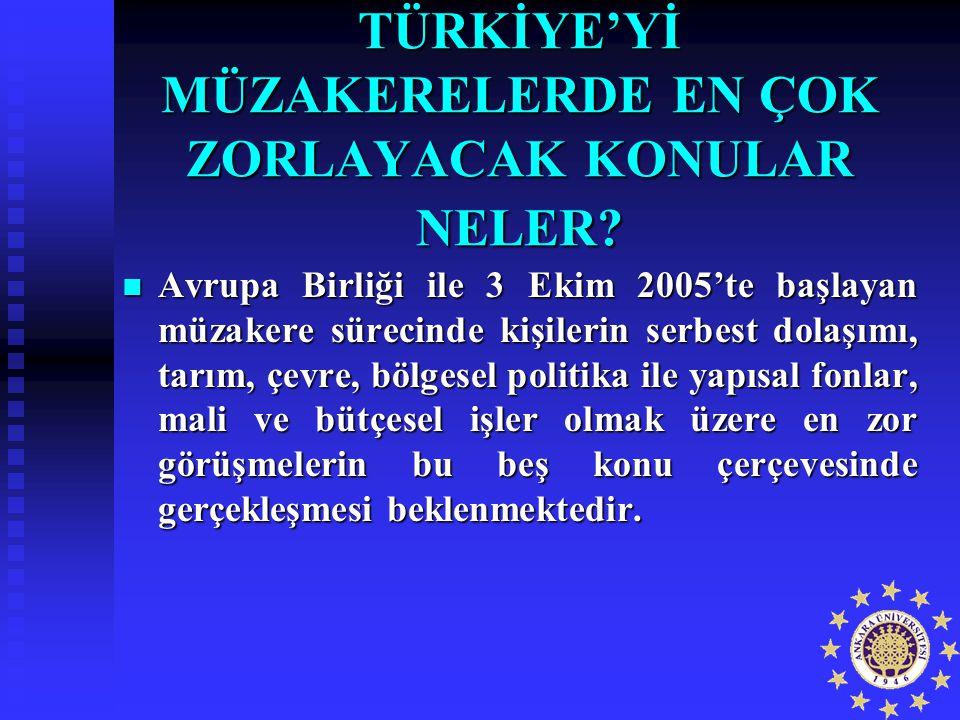 TÜRKİYE'Yİ MÜZAKERELERDE EN ÇOK ZORLAYACAK KONULAR NELER? Avrupa Birliği ile 3 Ekim 2005'te başlayan müzakere sürecinde kişilerin serbest dolaşımı, ta
