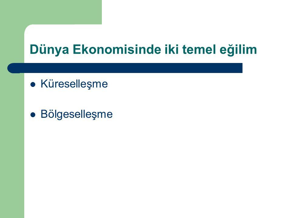 Türkiye'nin İthalatının Dağılımı (%) 1996200020052010 AB56524539 OECD73686054 EFTA3242 KEİ91218 EKİT3347 BDT7101516 Türk Cum.1112 İKO1312 15
