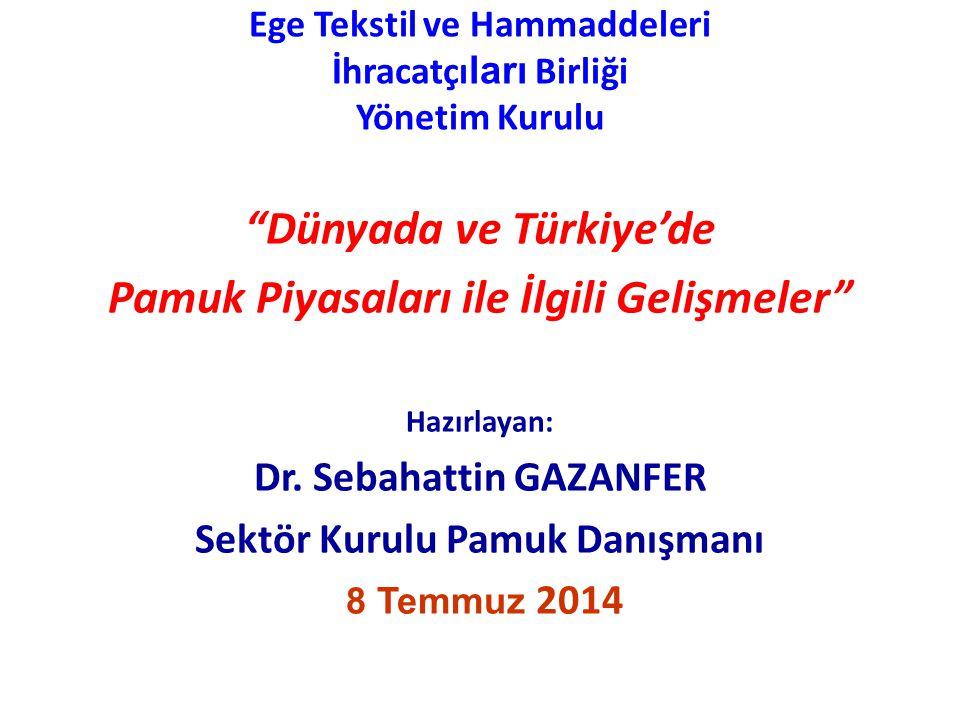 Ege Tekstil ve Hammaddeleri İhracatçı ları Birliği Yönetim Kurulu Dünyada ve Türkiye'de Pamuk Piyasaları ile İlgili Gelişmeler Hazırlayan: Dr.