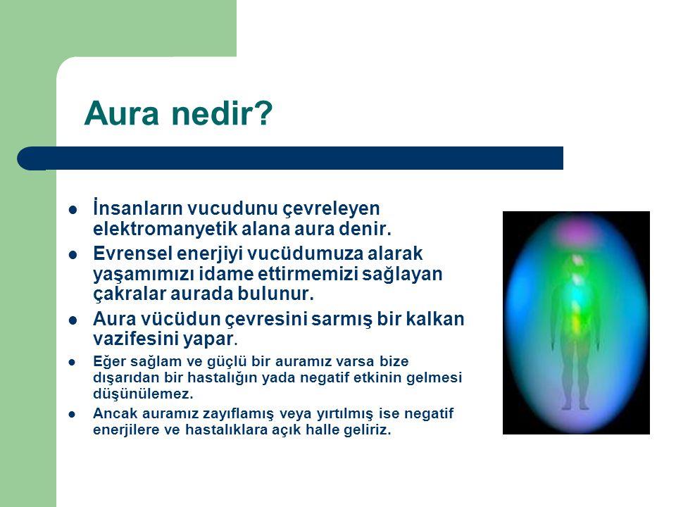 Aura nedir? İnsanların vucudunu çevreleyen elektromanyetik alana aura denir. Evrensel enerjiyi vucüdumuza alarak yaşamımızı idame ettirmemizi sağlayan