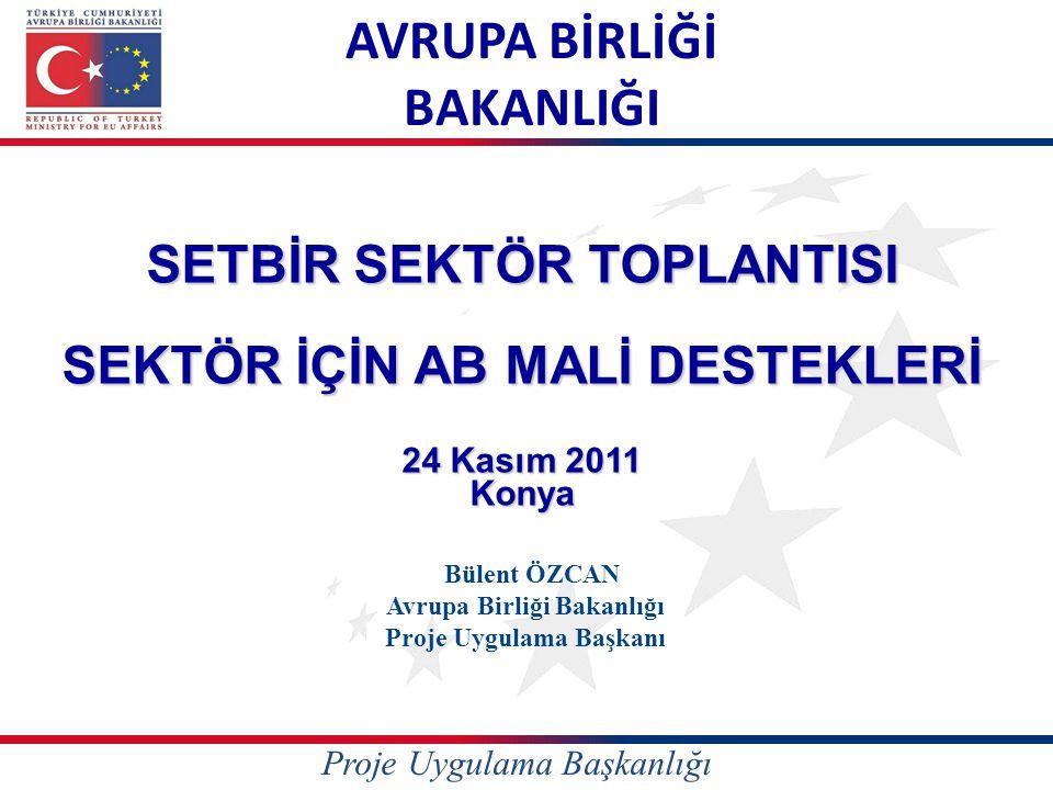 AVRUPA BİRLİĞİ BAKANLIĞI SETBİR SEKTÖR TOPLANTISI SEKTÖR İÇİN AB MALİ DESTEKLERİ 24 Kasım 2011 Konya Bülent ÖZCAN Avrupa Birliği Bakanlığı Proje Uygul