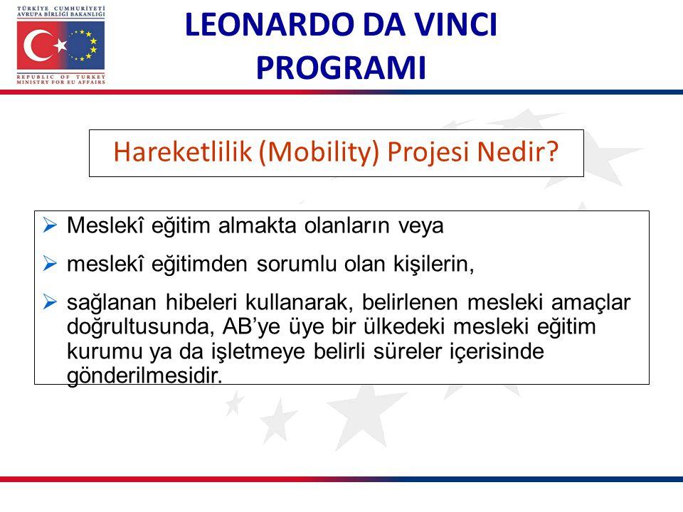Hareketlilik (Mobility) Projesi Nedir?  Meslekî eğitim almakta olanların veya  meslekî eğitimden sorumlu olan kişilerin,  sağlanan hibeleri kullana