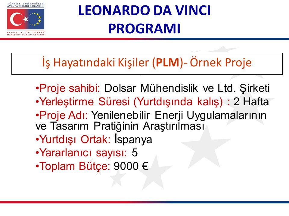 İş Hayatındaki Kişiler (PLM)- Örnek Proje LEONARDO DA VINCI PROGRAMI Proje sahibi: Dolsar Mühendislik ve Ltd. Şirketi Yerleştirme Süresi (Yurtdışında