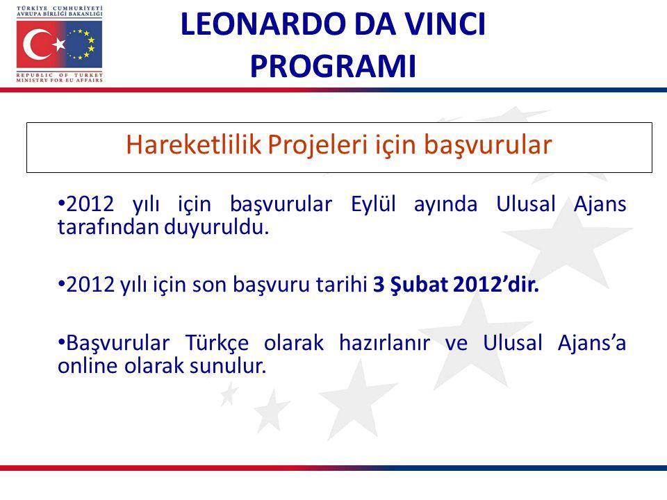LEONARDO DA VINCI PROGRAMI Hareketlilik Projeleri için başvurular 2012 yılı için başvurular Eylül ayında Ulusal Ajans tarafından duyuruldu. 2012 yılı