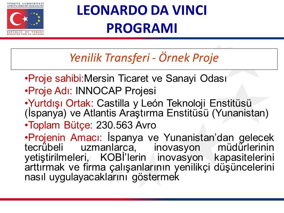 LEONARDO DA VINCI PROGRAMI Yenilik Transferi - Örnek Proje Proje sahibi:Mersin Ticaret ve Sanayi Odası Proje Adı: INNOCAP Projesi Yurtdışı Ortak: Cast