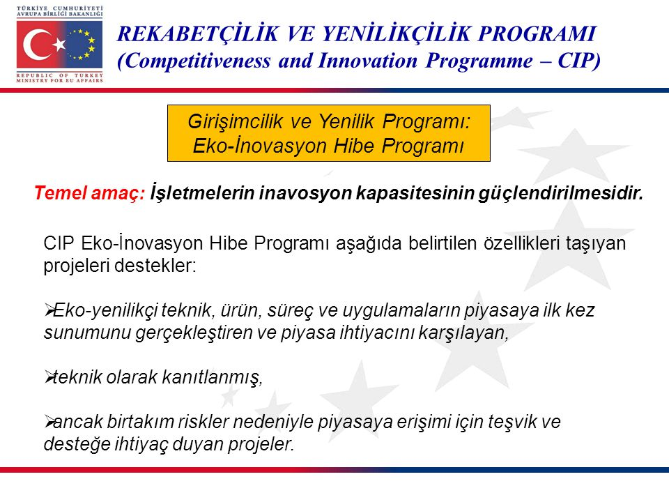 REKABETÇİLİK VE YENİLİKÇİLİK PROGRAMI (Competitiveness and Innovation Programme – CIP) Girişimcilik ve Yenilik Programı: Eko-İnovasyon Hibe Programı C
